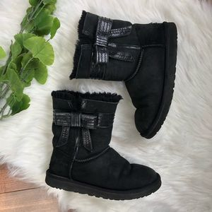 UGG | Black Leather & Suede Sheepskin Boots Bows